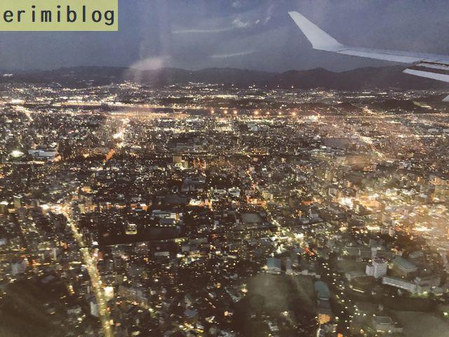 飛行機から見た福岡の夜景