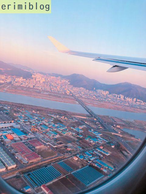 飛行機から見た釜山の町並み