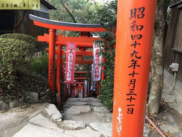 天開稲荷社の赤の鳥居が並ぶ急な階段を登った場所
