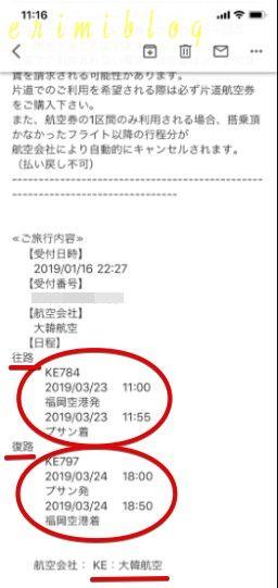 HISで予約した大韓航空のチケットのフライト時間の詳細メール画面